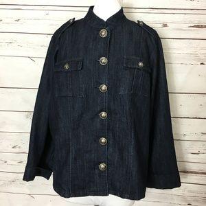 Swak Denim Blue Jean Jacket 14/16 Button Front